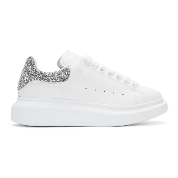 Alexander McQueen White Glitter Larry Sneakers