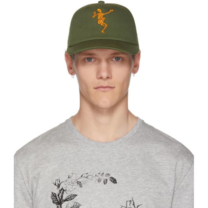 ALEXANDER MCQUEEN Skeleton-Embroidered Cap, 3234Khakmar