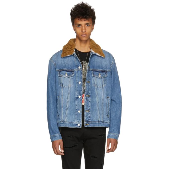 Alexander McQueen ブルー デニム シアリング カラー ジャケット