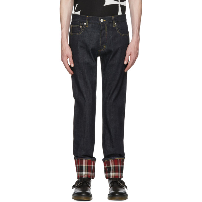 ALEXANDER MCQUEEN Men'S Straight-Leg Jeans With Plaid Cuffs in Blue