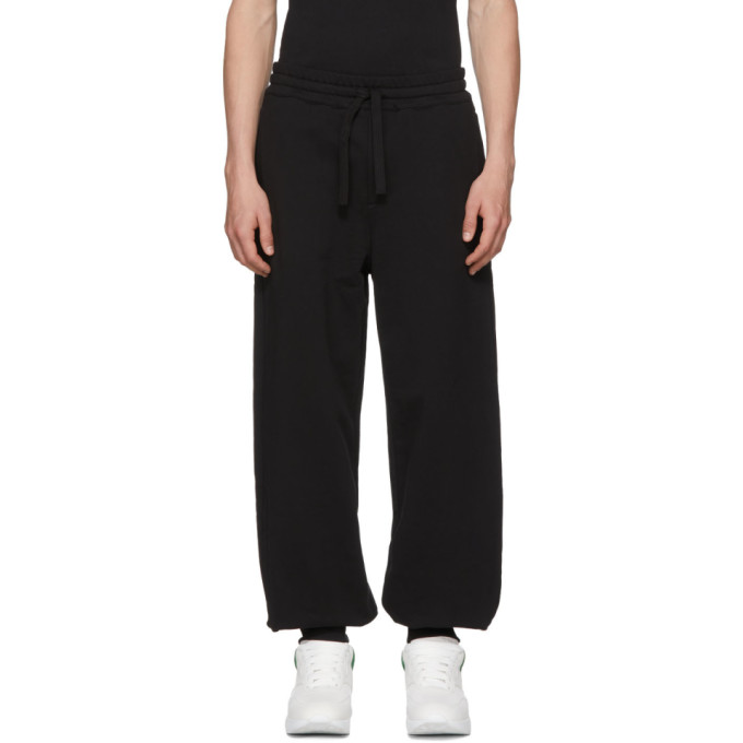 ALEXANDER MCQUEEN BLACK ORGANIC BRUSHED BACK LOUNGE PANTS