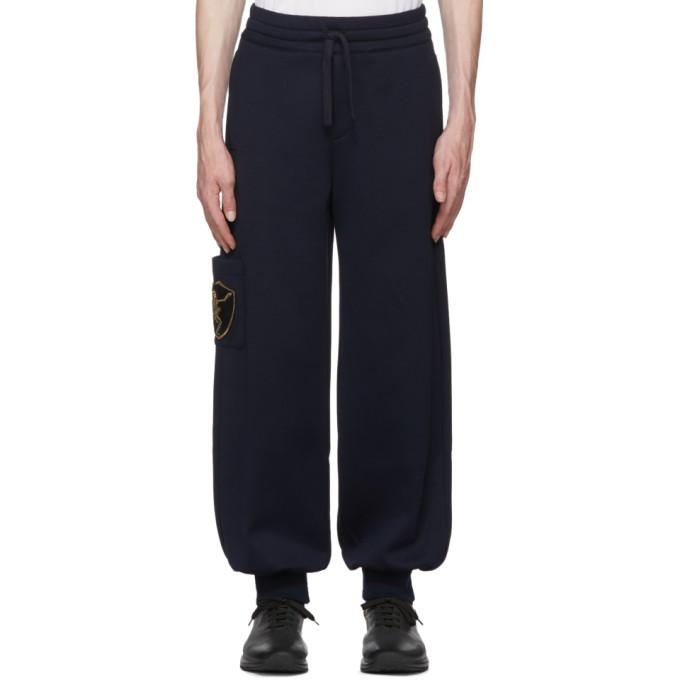 Alexander McQueen Pantalon de survetement bleu marine Side Patch Jogger