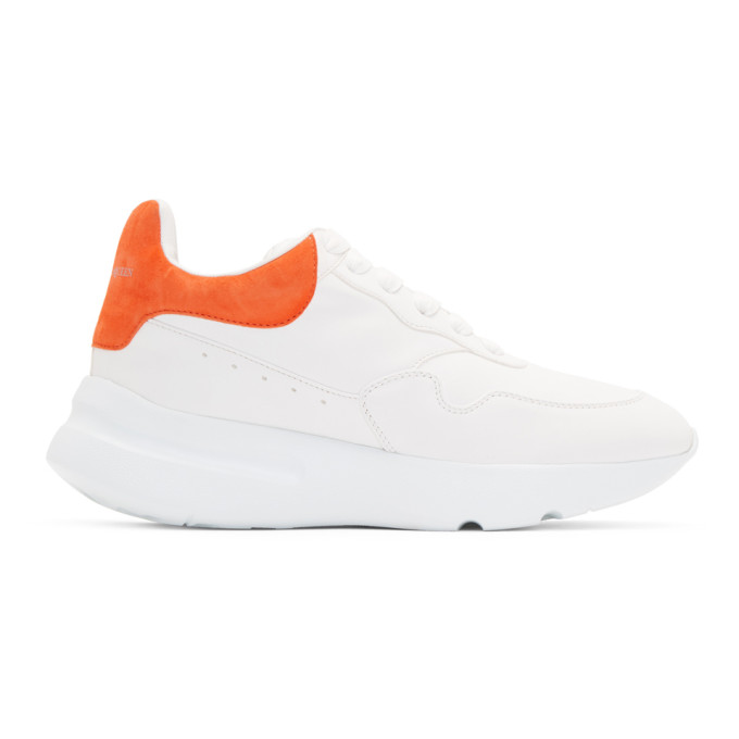 Alexander McQueen White & Orange Runner Sneakers