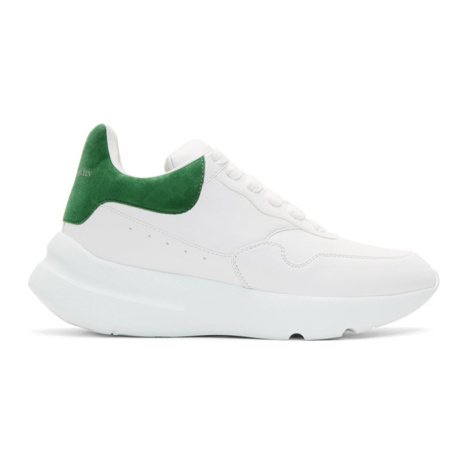 Alexander McQueen White & Green Runner Sneakers