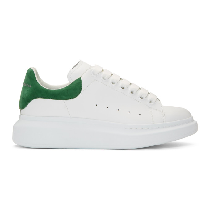 Alexander McQueen White & Green Oversized Sneakers