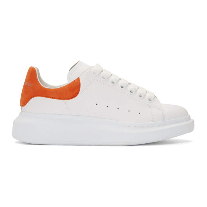 Alexander McQueen White & Orange Oversized Sneakers