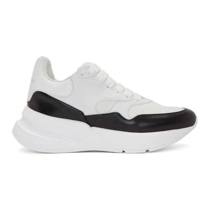 Alexander McQueen White & Black Oversized Runner Sneakers