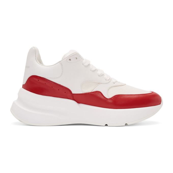 Alexander McQueen White & Red Oversized Sneakers
