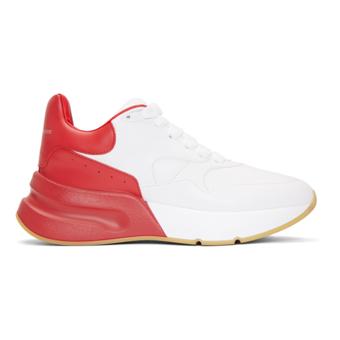 Alexander McQueen Red & White Oversized Runner Sneakers