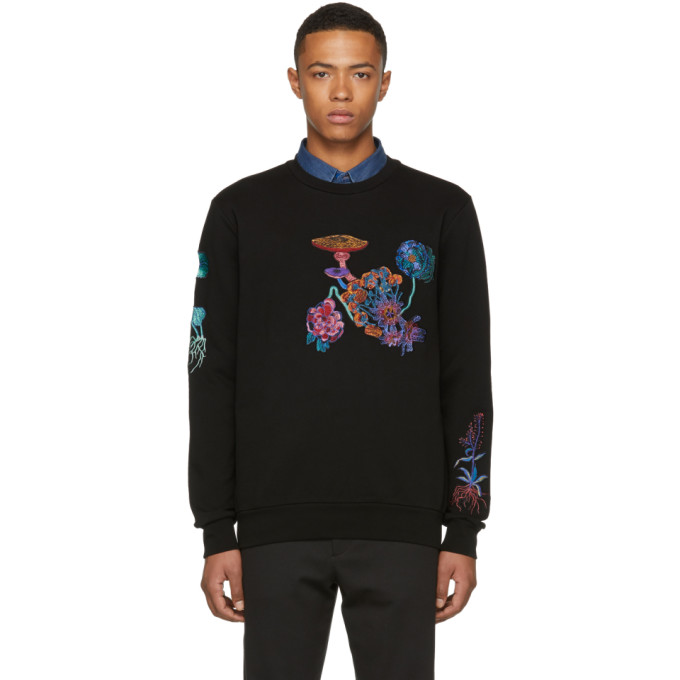 Image of Paul Smith Black All Over Floral Embroidery Sweatshirt