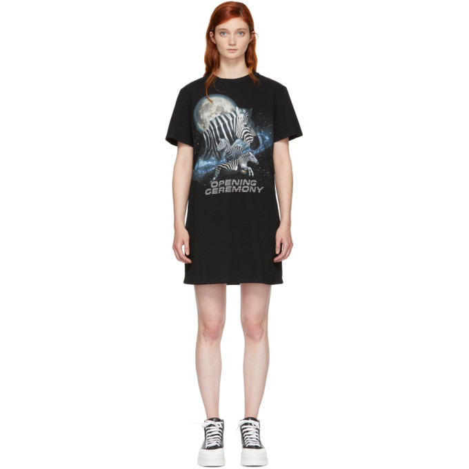 Image of Opening Ceremony Black Cosmic Zebra T-Shirt Dress