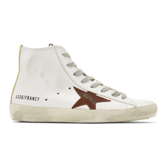 Golden Goose White & Purple Francy High-Top Sneakers