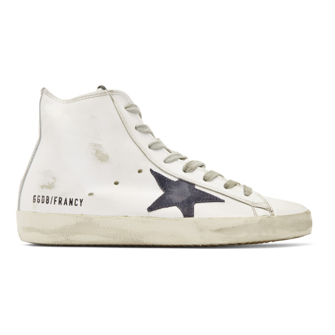Golden Goose White & Navy Francy High-Top Sneakers