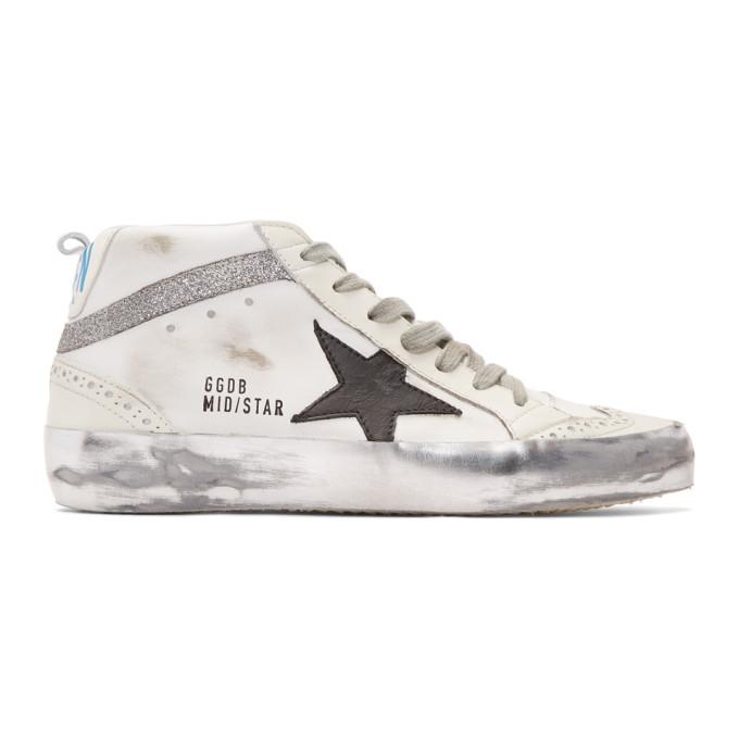 Golden Goose White Glitter Mid Star Sneakers