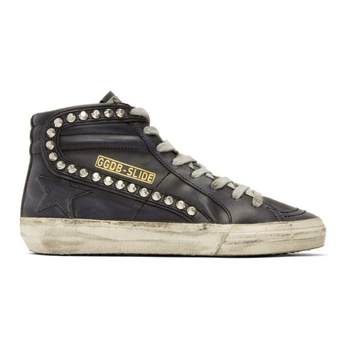 Image of Golden Goose Black Leather Studded Slide Sneakers