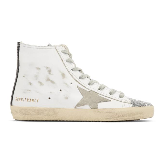 Golden Goose White Francy Swarovski Thong High Top Sneakers
