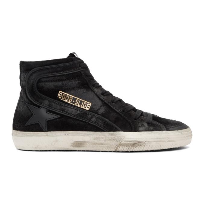 Golden Goose Black Suede Slide High-Top Sneakers