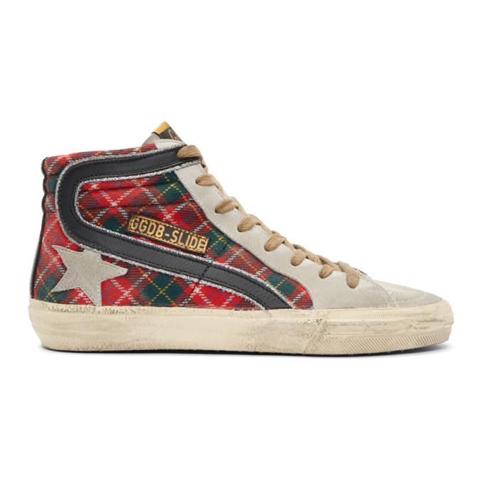 Golden Goose Red Tartan Slide Sneakers