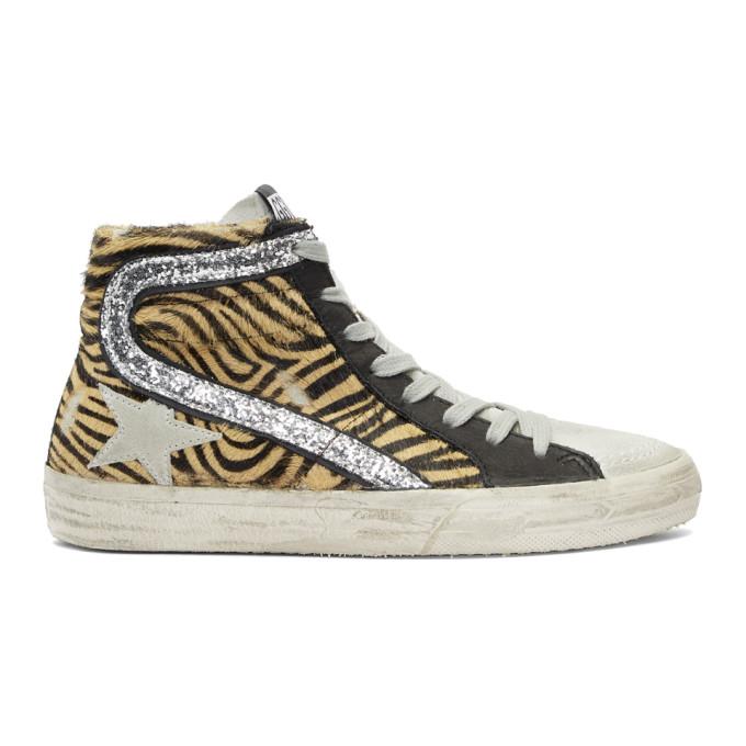 Golden Goose Beige & Black Calf-Hair Zebra Sneakers