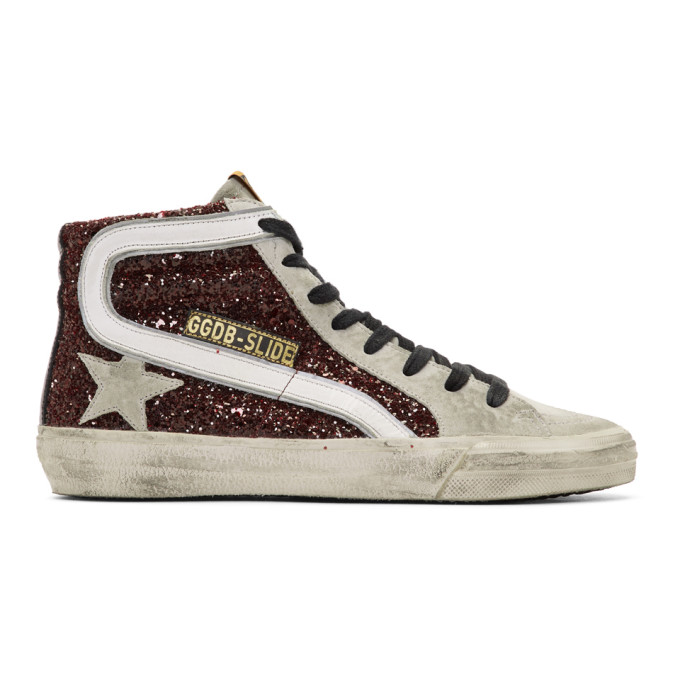 Golden Goose Grey & Red Glitter Sneakers