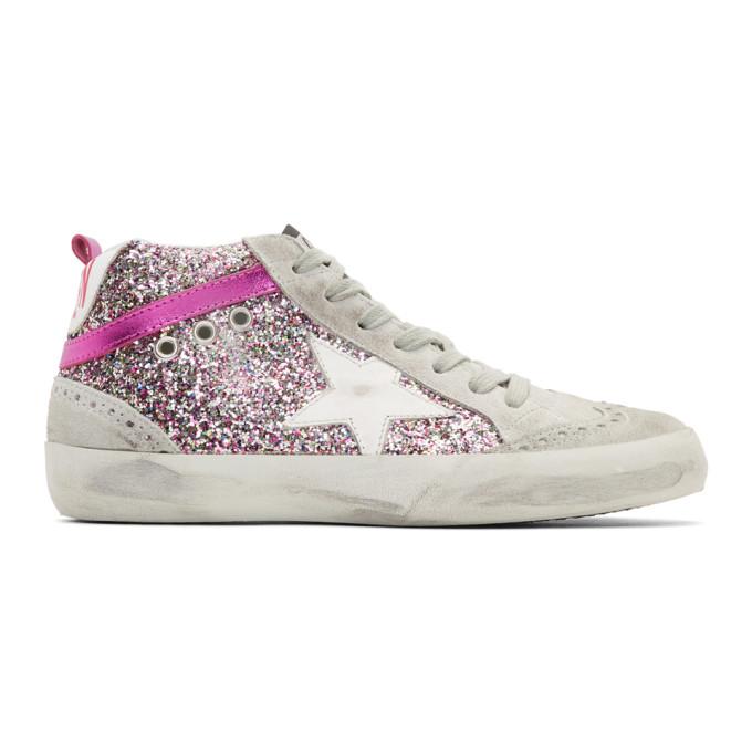 Golden Goose Grey & Pink Glitter Mid Star Sneakers