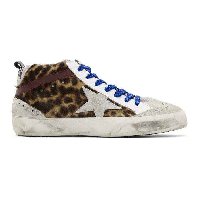 Golden Goose Grey Leopard Mid Star Pony Sneakers