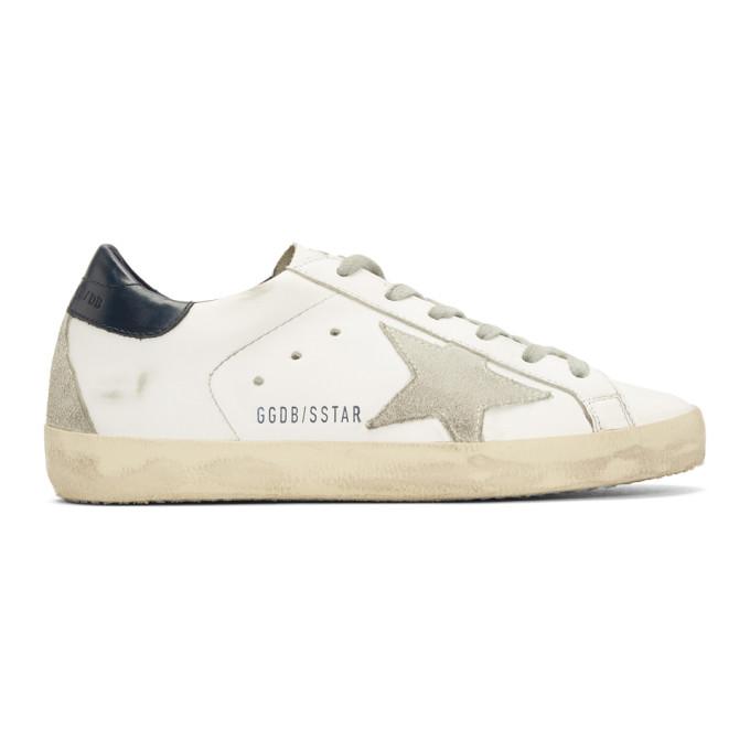 Golden Goose White & Navy Superstar Sneakers