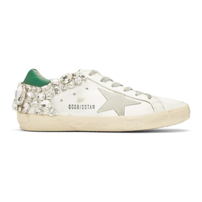 Golden Goose White & Green Diamond Superstar Sneakers
