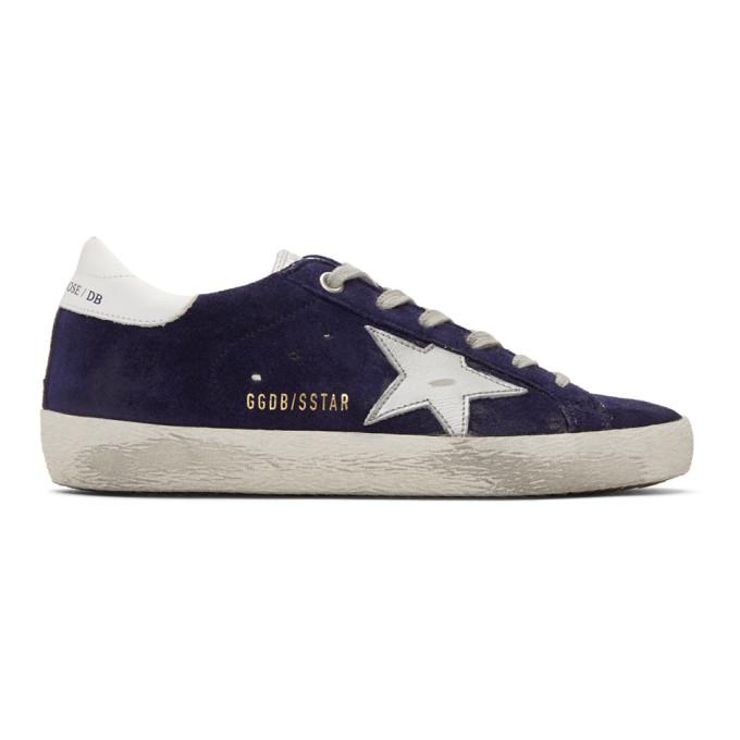 Golden Goose Navy Suede Superstar Sneakers