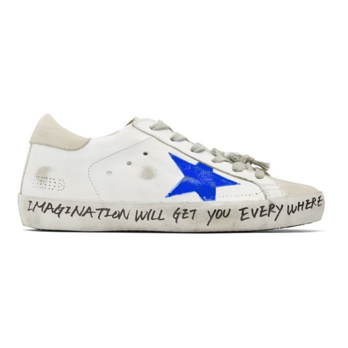 Golden Goose White & Grey Scribble Skate Superstar Sneakers