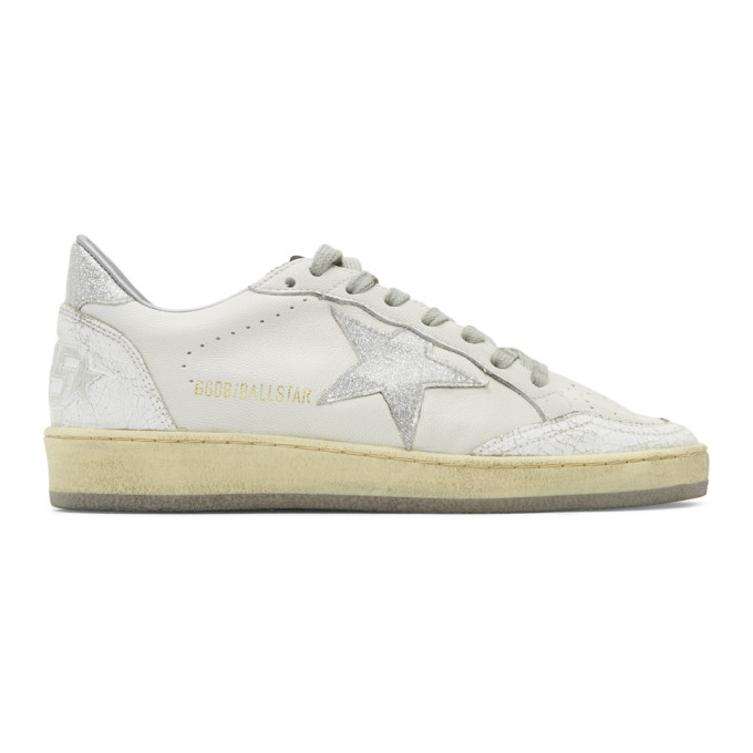 Golden Goose White & Silver Ball Star Sneakers