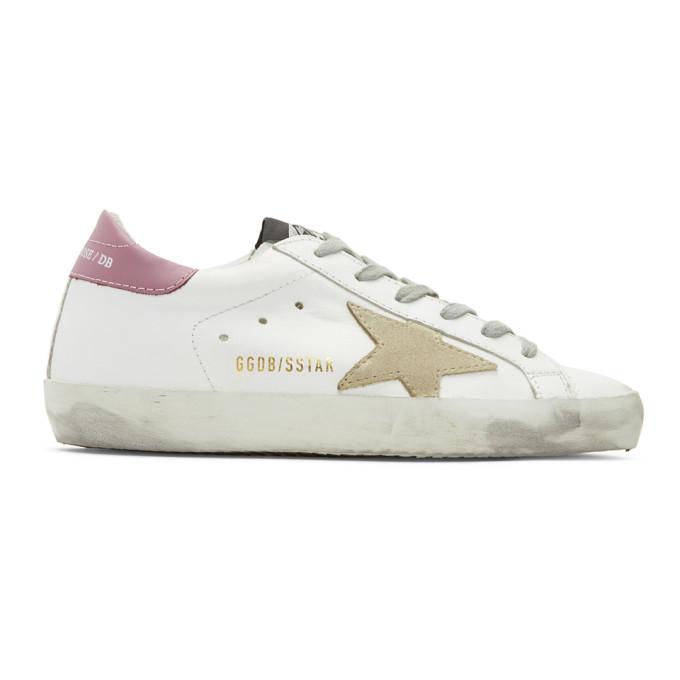 Golden Goose SSENSE Exclusive White & Purple Superstar Sneakers