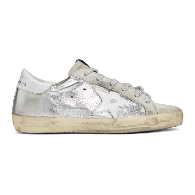 Golden Goose SSENSE Exclusive Silver & Grey Superstar Sneakers