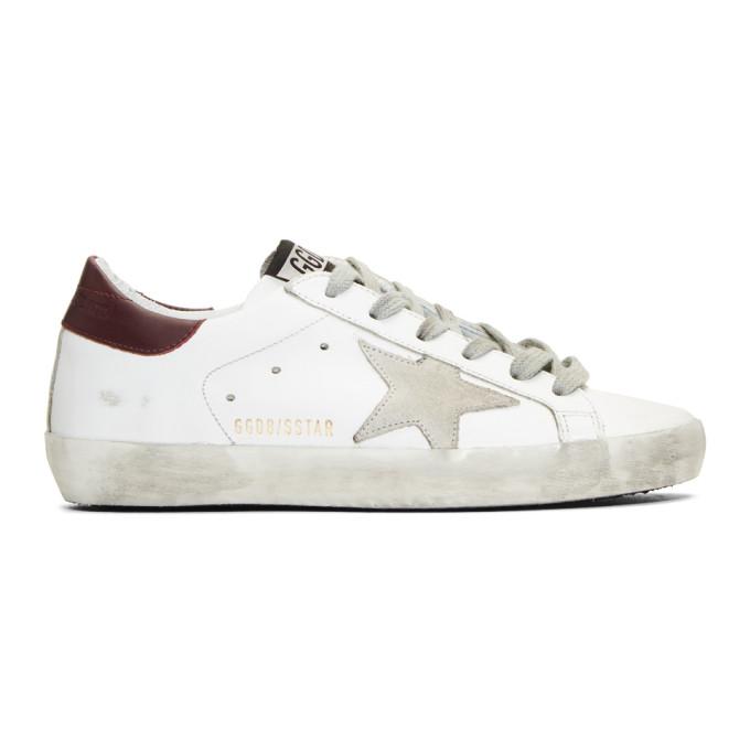 Golden Goose SSENSE Exclusive White & Burgundy Superstar Sneakers