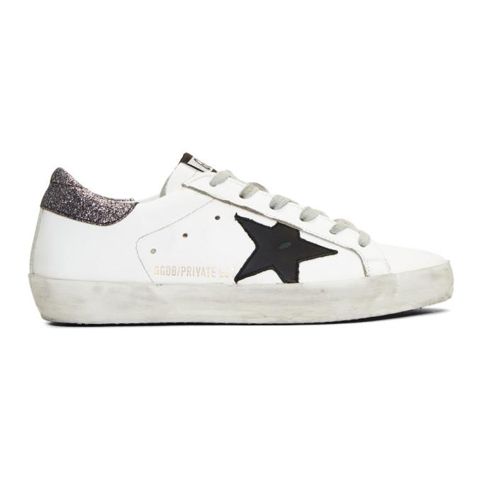 Golden Goose SSENSE Exclusive White & Silver Glitter Superstar Sneakers