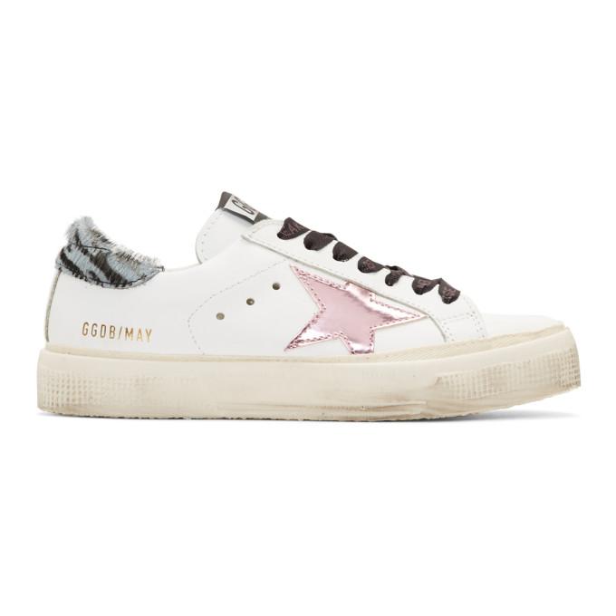 Golden Goose White Calf-Hair Zebra May Sneakers