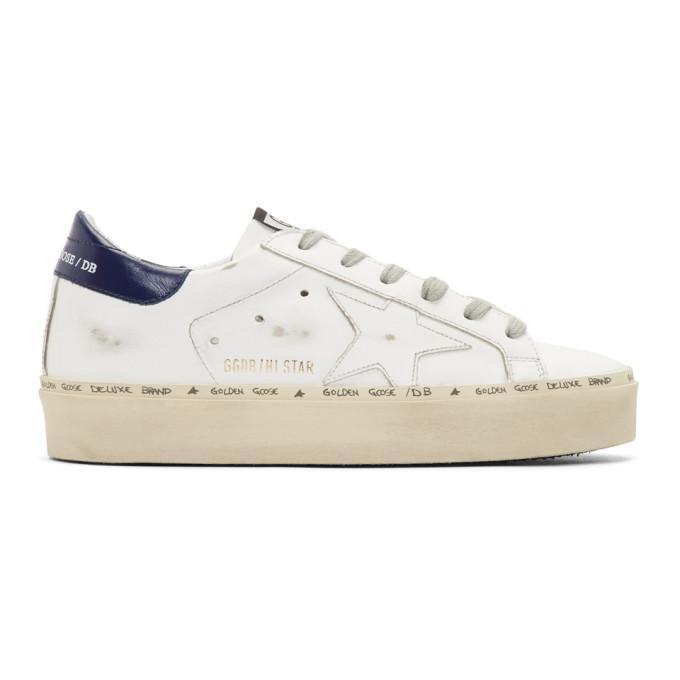 Golden Goose White & Bue Hi Star Platform Sneakers