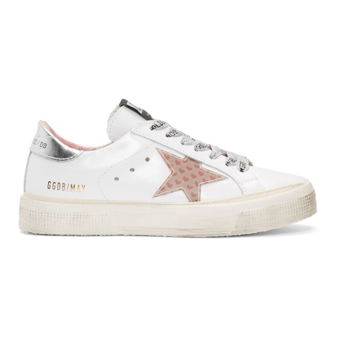 Golden Goose White May Small Heart Sneakers
