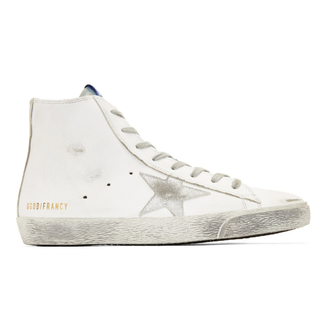 Golden Goose White & Silver Francy High-Top Sneakers