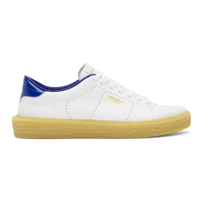 Golden Goose White & Blue Tennis Sneakers