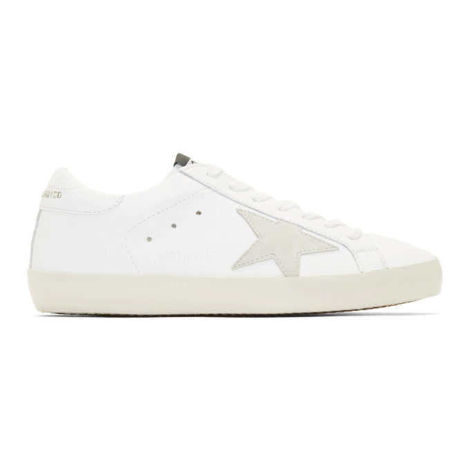 Golden Goose White & Gold Lettering Sneakers