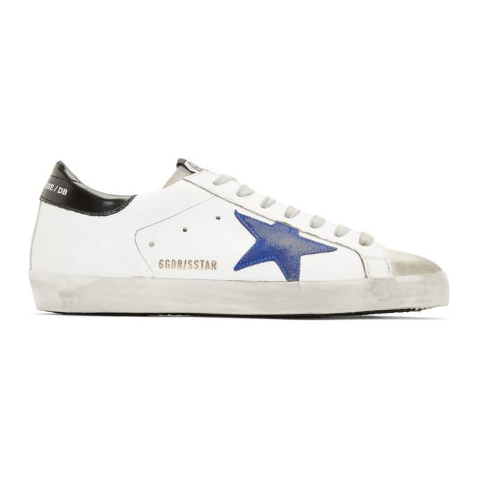 Golden Goose White & Blue Superstar Sneakers
