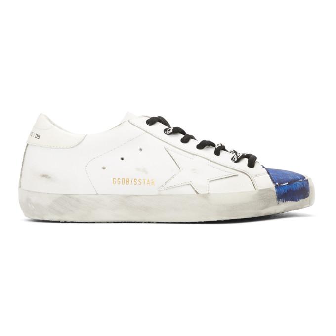 Golden Goose White & Blue Stripe Superstar Sneakers