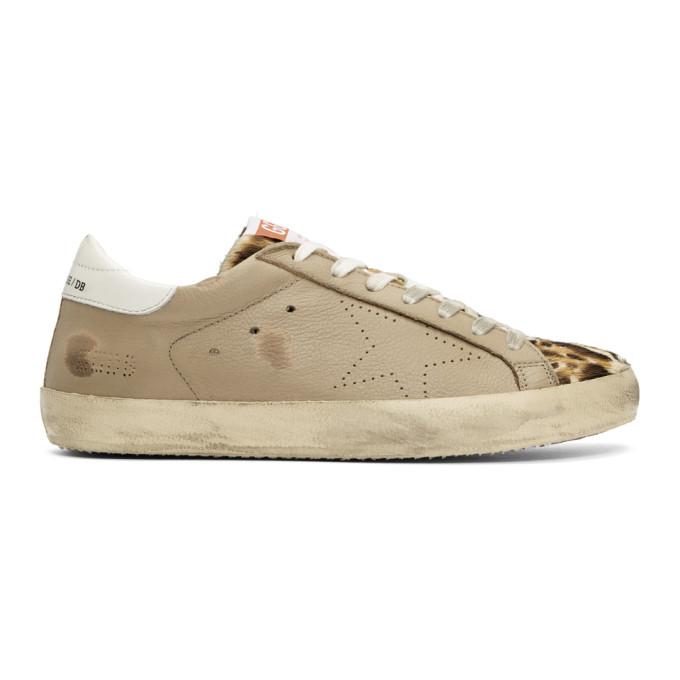 Golden Goose Tan Leopard Superstar Sneakers