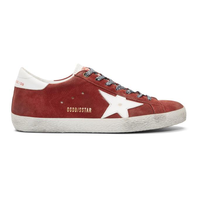 Golden Goose Red Suede Superstar Sneakers
