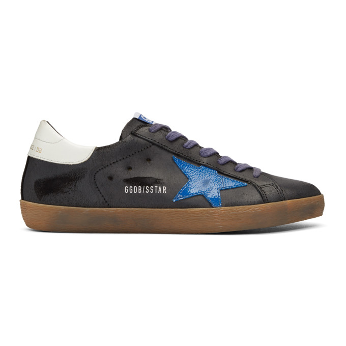 Golden Goose Black & Blue Superstar Sneakers