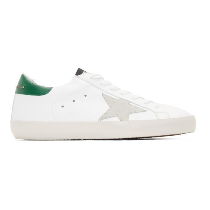 Golden Goose White & Green Superstar Sneaker