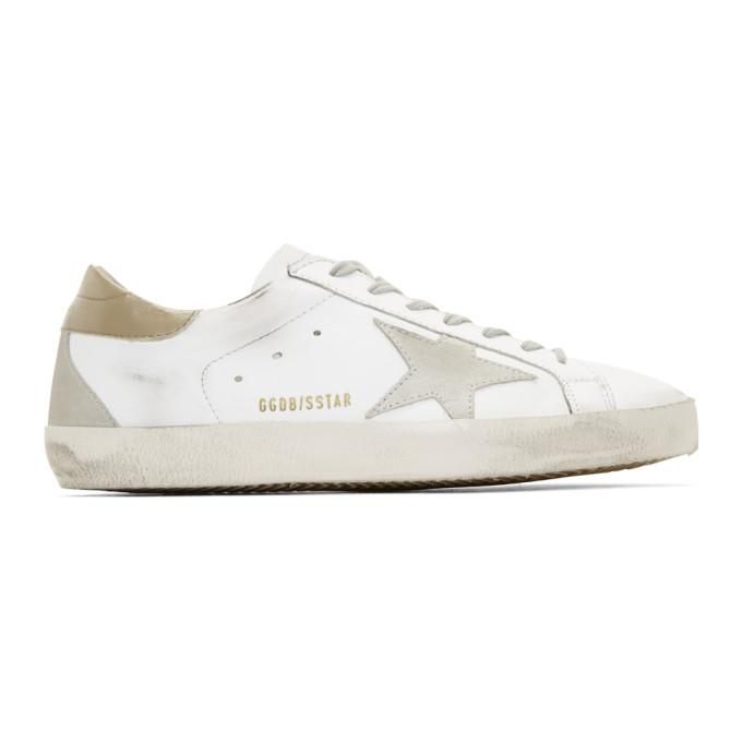 Golden Goose White & Brown Superstar Sneakers