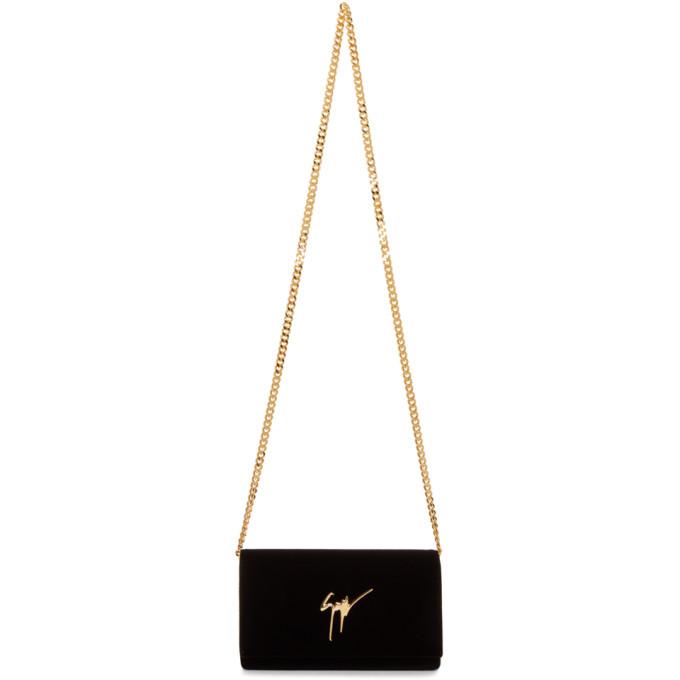 Giuseppe Zanotti Black Velvet Flap Bag