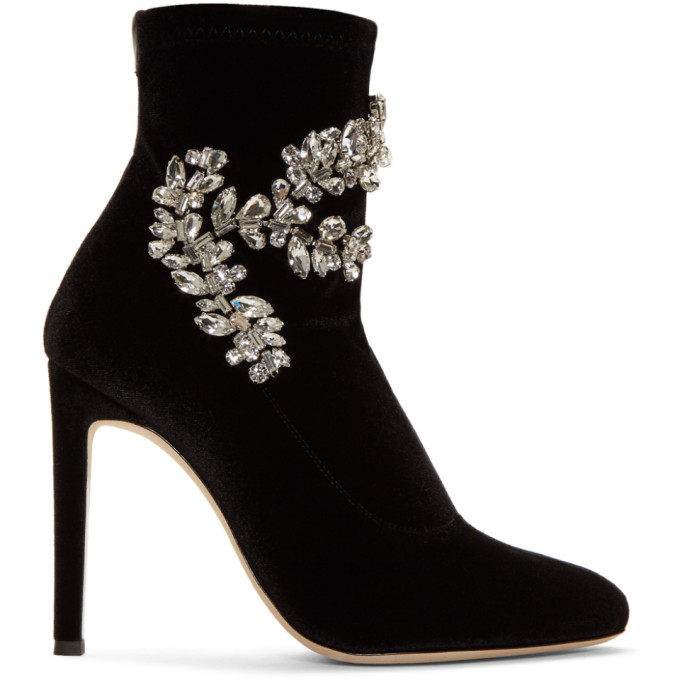 Glitter Stretch Booties With Embellishment in Black